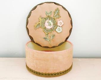 Vintage 1920s French boudoir trinket box/Rose Gold/Pastel pink color ribbon work flower/Metallic trim jewelry box