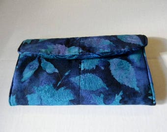 Blue Leaves Batik Clutch Wallet