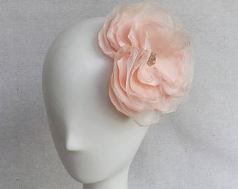Oversized Flower Brooch/Clip Combo in Blush Satin & Organza