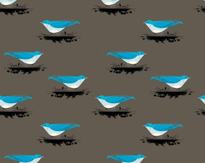 Organic KNIT Fabric - Charley Harper Western Birds - Mountain Blue Bird Knit