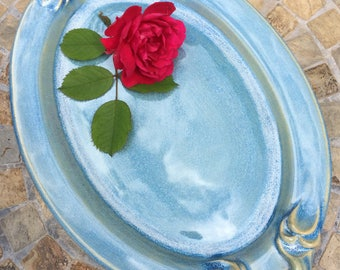Ceramic Serving Platter, Stoneware Platter with Handles in Opal Blue