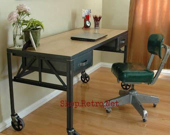 Royston French Industrial Desk on Casters / Vintage Work Table / Office Furniture