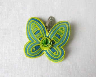 Silk butterfly hair snap clip -  hand painted natural silk butterfly - snap pin - green, teal and yellow butterfly hair pin