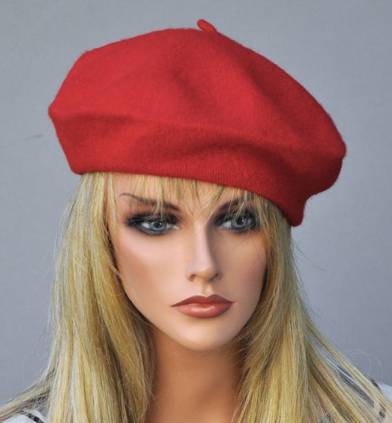 Red Hat, Ladies Red Beret, French Beret, Red Winter Hat, Fall Autumn Hat, Red Tam, Wool Felt Hat, Casual Hat, Red Fall Hat, Beret