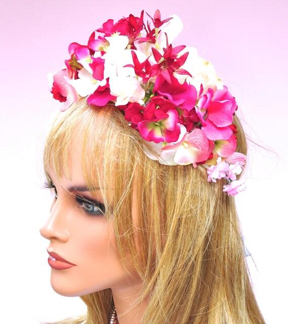 Pink Flower Headpiece, Flower Crown, Wedding Headpiece, Wedding Crown, Flower Fascinator, Fascinator, Tiara