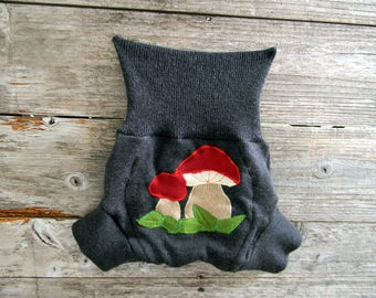 Upcycled Merino Wool Soaker Cover Diaper Cover With Added Doubler Charcoal Gray with Mushrooms Applique LARGE 12-24M