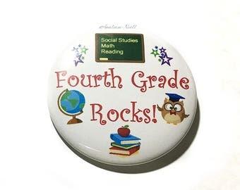 "Fourth Grade Rocks, 2.25"" Button, 4th Grade Rocks Pin, 4th Grade Rocks Button, Fourth Grade Rocks Key Chain, Back Pack Decor, Back to School"