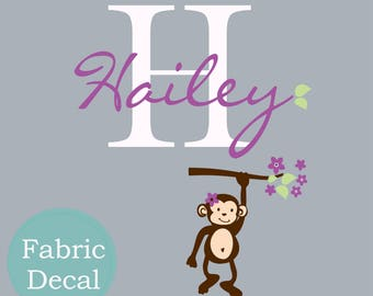 CHILDREN WALL DECAL -hanging Monkey Custom  your name a  wall decal for Nursery, kids room. Cuter Jungle and Safari themes