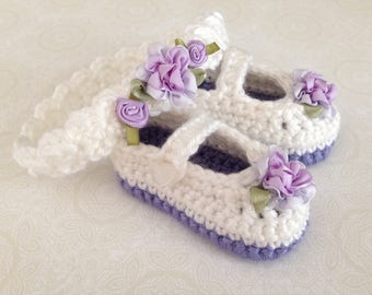 White and Lavender Rosebud Baby Shoes and Headband