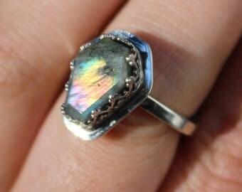 Labradorite Ring, small Coffin Ring, teardrop, sterling silver, silver ring, Labradorite, Coffin Shape, purple labradorite