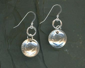 1972 Dime Silver Earrings 45th Birthday Gift 45th Anniversary Gift Coin Jewelry 1972 Dimes