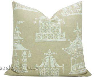 Decorative Pillow Cover  - 20 inch - Chinoiserie  - Ming Pagoda - decorative pillow cover - ready to ship