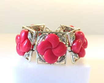 Coro Lucite Bracelet, Vintage Jewelry, Signed Coro Pegasus, Red Lucite Cabochons, Red Thermoset Vintage Bracelet, Mid Century Panel Bracelet