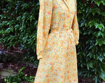 Vintage 70s Albert Nippon Blouse and Skirt Set  Yellow Orange and Green  small