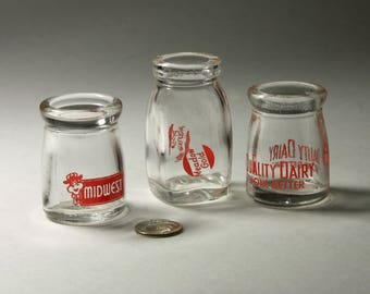 Vintage Glass Creamers with Dairy Names -  Set of Three