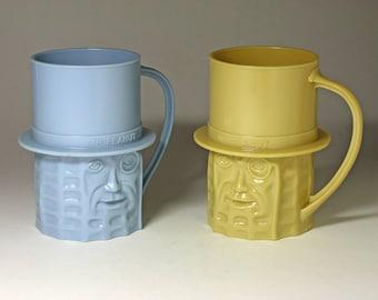 Vintage Mr. Peanut Cups, Mr. Peanut Mugs, Beige and Blue - circa 1960's