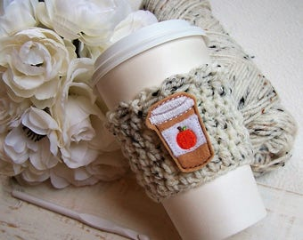 Crochet Coffee Cozy - Pumpkin Spice Latte