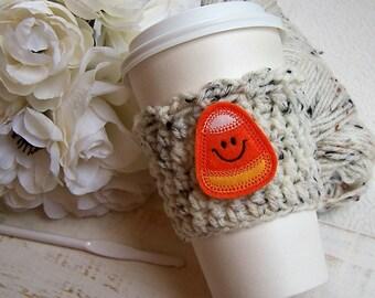 Crochet Coffee Cozy - Candy Corn