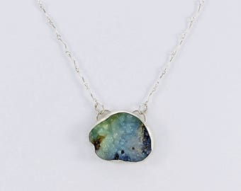 Handcrafted Sterling Silver and Natural Drusy Pendant Organic Blue Green Stone Pebbly Surface Contemporary Artisan Jewelry 82884903101917