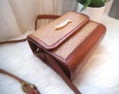 Vintage Creel Leather and Rattan Purse ~ Vintage April Cornell Shoulder bag