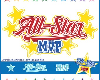 Digital Clip Art - All-Star, MVP, and Stars Cliparts - in ten colours - Sport