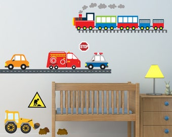 Train Wall Decal,  Nursery Wall Decal, Reusable Decal Non-toxic Fabric Wall Decals for Kids, WD48