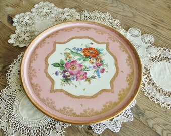 Antique French Hand Painted Porcelain Cake Platter with Flowers