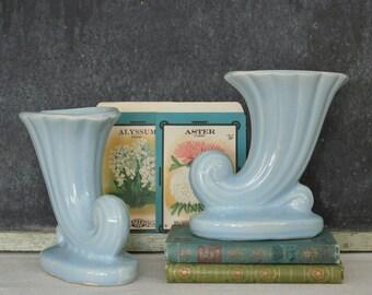 2 Vintage Pale Blue Pottery Cornucopia Vases