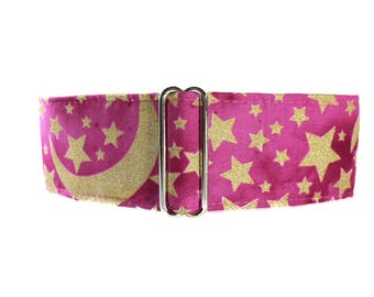 2 inch Martingale Collar, Sun Moon Stars Martingale Collar, Sun Moon Stars Dog Collar, Pink and Gold, Wide Dog Collar, Greyhound Collar