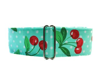 1.5 Inch Martingale Collar, Cherries Martingale Collar, Cherries Dog Collar, Aqua Martingale, Polka Dog Martingale, Polka Dot Dog Collar