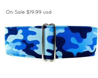 Blue Martingale Collar, 2 inch Martingale Collar, Camo Martingale, Greyhound Collar, Blue Dog Collar, Camo Dog Collar