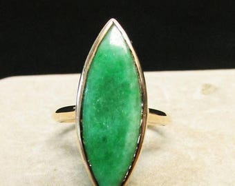 On Sale Vintage Estate Mid Century 14K Gold Translucent Marquise Cut Apple Green Jade Ring
