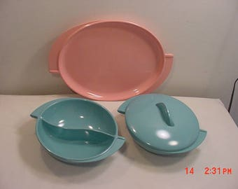 3 Pieces Of Vintage Boonton Melmac Serving Dishes Pink & Turquoise 18 - 299