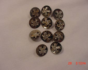 11 Matching Antique Metal Buttons  18 - 483