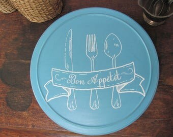 Aqua Lazy Susan, Painted and Stenciled French Themed Cream Turntable, Bon Appetit Kitchen Decor