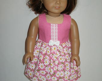 Dress for 18 inch dolls - Pink and White Daisy Print Dress w/pink & white shoes