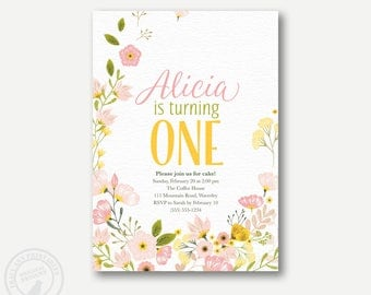 Flowery 1st Birthday Invitation. Floral Girl Birthday, Yellow and Pink flowers, 1st, 2nd, 3rd, 4th, 5th Printable, Digital 1046