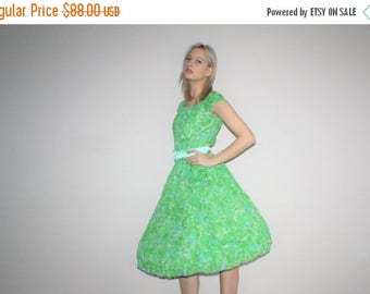 On SALE 45% Off - Vintage 1950s Neon Green Rose Floral  Cupcake Pinup Bombshell Party Dress  - Vintage 50s Cotton  Dress  - W00531