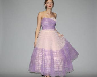 On SALE 45% Off - 1950s Two Tone Lavender and Blush Strapless Dream Cupcake Wedding Dress  - Vintage Wedding Dress - 50s Wedding Dress  - Pr