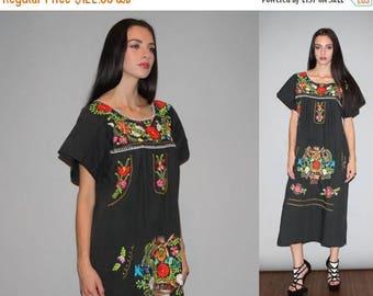On SALE 35% Off - Vintage 1960s Oaxacan Black Midi Rainbow Floral Embroidered  Boho Hippie Folk Ethnic  Mexican Wedding Cotton Dress  - W000