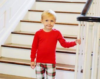 Christmas Pajamas, Christmas PJs, Christmas Set, Matching PJs, Family PJs, Pajamas, Red and Green, Christmas Plaid, Christmas Gown, Sibling