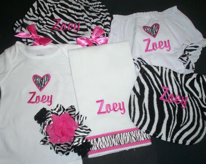 Baby Zebra gift Set - baby personalized bloomers - personalized bodysuit - zebra deluxe set -  zebra bib - zebra ribbon - Zebra burp cloth