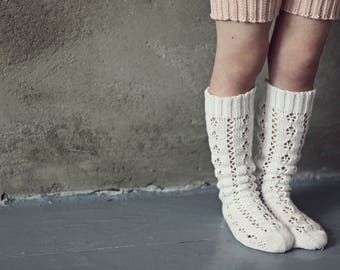 Thigh high KNIT LACE SOCKS Snow bright white Boot socks Kids accessory