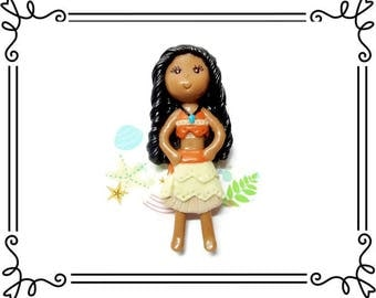 Cold Porcelain Clay Moana Figurine, Pendant Charm, Moana Ornament, Purse Charm, Bow Center, Brooch, Magnet /DIY Princess Necklace, Jewelry