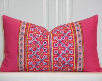 VINTAGE Hmong Pillow Cover - Tribal Decorative Pillow Cover -  Cotton - Cross Stitches Embroidery - Accent Pillow - Toss Pillow