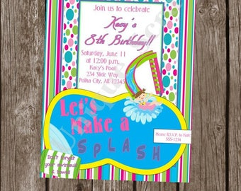Make a Splash Pool Party Invitation Style DI2106 DIGITAL FILE - Printable - by Unique Scrap Designs