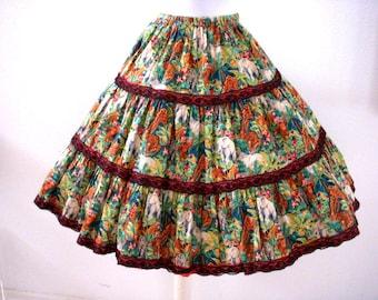 Vintage Novelty Square Dance Skirt - Animal Print Circle Skirt - Tiered Patio Skirt - Elephant Tiger Zebra Print Skirt - Size Medium  Large