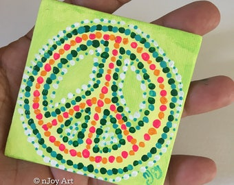 """Peace Sign, 3""""x3"""" Art Magnet, office and kitchen art"""