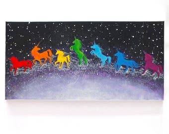 Unicorn Rainbow, 24x12 inch acrylic painting on gallery wrapped canvas, whimsical art for home, office and kids rooms