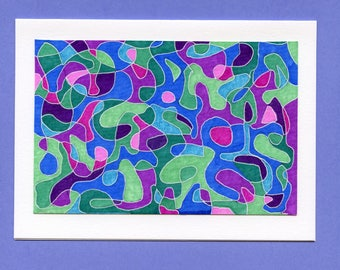 Hand made hand painted blank notecard abstract blue green purple all occasion
